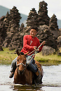 horse and shepherd, Tsagaan nuur, Mongolia