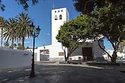 Historic whitewashed church of Nuestra Señora de la Encarnación in Haria, Lanzarote, Canary Islands, Spain