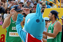 13.07.2014, Beach Village, Gstaad, SUI, FIVB Beach Volleyball Grand Slam Gstaad, im Bild Philip Dalhauser und Sean Rosenthal (USA) jubeln // during the FIVB Beach Volleyball Grand Slam Gstaad at the Beach Village in Gstaad, Switzerland on 2014/07/13. EXPA Pictures © 2014, PhotoCredit: EXPA/ Freshfocus/ Claude Diderich<br /> <br /> *****ATTENTION - for AUT, SLO, CRO, SRB, BIH, MAZ only*****