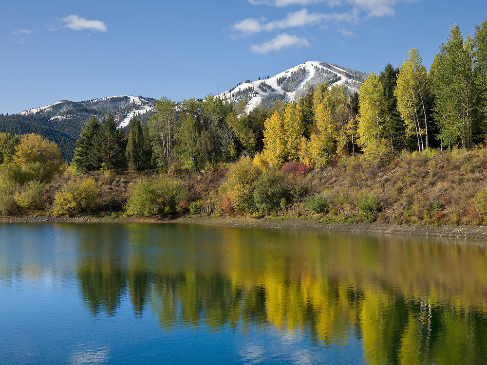 Open Edition Fine Art Photograph<br /> Calm and Serene Fall Morning on Sun Valley Lake with Snow Covered Baldy Mountain