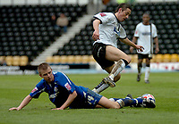 Photo: Ian Hebden.<br />Derby County v Millwall. Coca Cola Championship. 08/04/2006.<br />Derbys Tommy Smith (R) wins the ball from Millwalls Tony Craig (L).