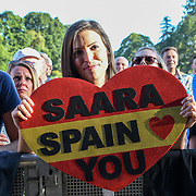 A fan holding a ban of Saara Aalto perform live at Kew The Music Festival 2018 on 10th July 2018.