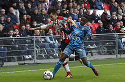 (L-R), Hirving Lozano of PSV, Jamiro Monteiro Alvarenga of Heracles Almelo during the Dutch Eredivisie match between PSV Eindhoven and Heracles Almelo at the Phillips stadium on October 22, 2017 in Eindhoven, The Netherlands