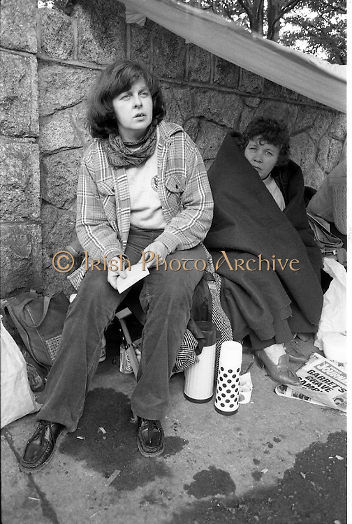 H-Block Protest To British Embassy.  (N86)..1981..18.07.1981..07.18.1981..18th July 1981..A protest march to demonstrate against the H-Blocks in Northern Ireland was held today in Dublin. After the death of several hunger strikers in the H-Blocks feelings were running very high. The protest march was to proceed to the British Embassy in Ballsbridge...Picture shows Bernadette McAlliskey,and the two more women from the National H-Block committee who stayed at the British Embassy in a make shift tent erected outside Thomas Prior House in Ballsbridge.