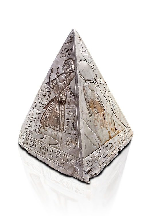 """Ancient Egyptian Pyramidion of Ramose North & East sides, Limestone, New Kingdom, 19th Dtnasty (1292-1190 BC), Dier el-Medina. Egyptian Museum, Turin. Old Fund cat 1603. white background.<br /> <br /> The north face of the Ramose Pyramidion explains the attribute of Horus as the strong coronal electric field of the Sun gifting the Ankh as a support to Life. It reads """"Strong coronal electric field supporting the Sun, negative charge induction."""""""" Weak electric field is an attribute of the anode Sun.""""""""Electricity supporting life to core charge store God"""".<br /> <br /> The east face of the Ramose Pyramidion shows the support for the structured plasma, her hands are held up representing the electric force on the perpendicular face to the North South axis of Horus, the strong coronal electric field. It reads"""" Structured plasma watched, attribute supporting life projecting power (negative charge) to support charge store (celestial body) electrostatic resonance."""""""" Seek home structured plasma to land negative charge projection by God as lightning attribute support celestial body via connection giving movement and [light].""""<br /> <br /> The limestone Pyramidion of Ramose, from the top of the tomb of the 'Necropolis Scribe'. Scenes on all four sides depict the worship of the sun. .<br /> <br /> If you prefer to buy from our ALAMY PHOTO LIBRARY  Collection visit : https://www.alamy.com/portfolio/paul-williams-funkystock/ancient-egyptian-art-artefacts.html  . Type -   Turin   - into the LOWER SEARCH WITHIN GALLERY box. Refine search by adding background colour, subject etc<br /> <br /> Visit our ANCIENT WORLD PHOTO COLLECTIONS for more photos to download or buy as wall art prints https://funkystock.photoshelter.com/gallery-collection/Ancient-World-Art-Antiquities-Historic-Sites-Pictures-Images-of/C00006u26yqSkDOM"""