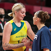 TOKYO, JAPAN August 4:  Cayla George #15 of Team Australia and Diana Taurasi #12 of Team United States embrace at the end of the game during the USA V Australia quarter final match in the basketball competition for women at the Saitama Super Arena during the Tokyo 2020 Summer Olympic Games on August 4, 2021 in Tokyo, Japan. (Photo by Tim Clayton/Corbis via Getty Images)