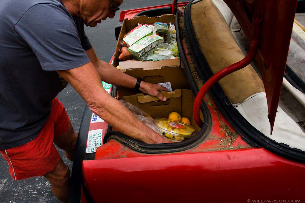 Milton Saier, professor of biology at the University of California at San Diego, has been collecting discarded food from dumpsters for 30 years.  What he doesn't eat himself he gives to his chickens.  Freeganism is a recent anti-consumerist movement oriented toward minimizing waste.