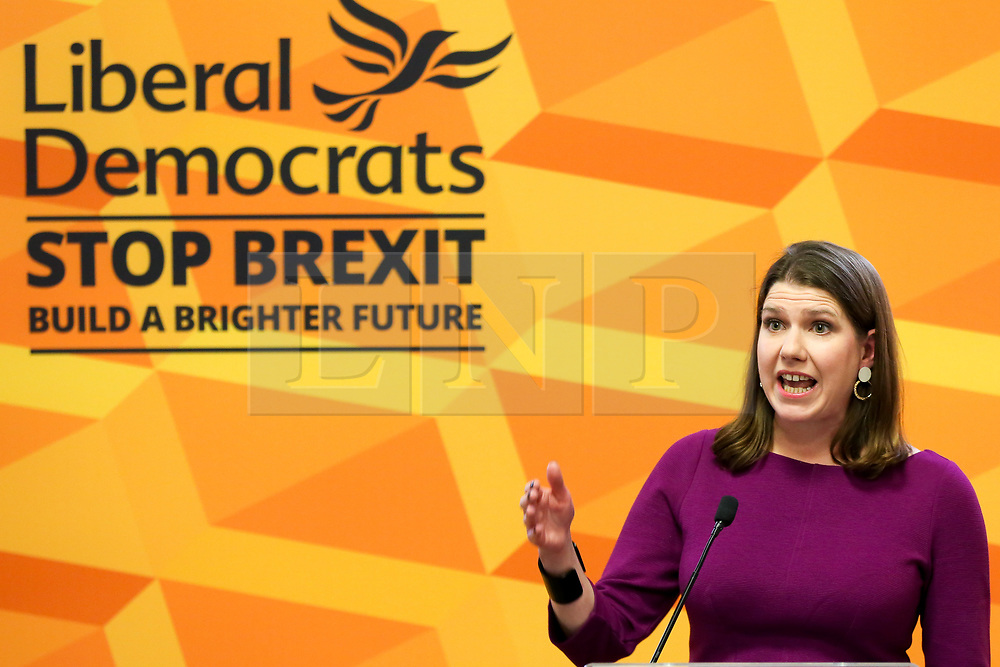 © Licensed to London News Pictures. 28/11/2019. London, UK. Leader of the Liberal Democrats, JO SWINSON speaks at an event in Westminster outlining the reasons why BORIS JOHNSON is not fit to be the next Prime Minister. Britons go to the polls on 12 December in a General Election. Photo credit: Dinendra Haria/LNP