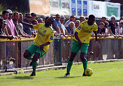 August 28, 2017 - London, United Kingdom - L-R Adetayo Osifuwa of Thurrock FC and Joel Nouble of Thurrock FC.during Bostik League Premier Division match between Thurrock vs Billericay Town at  Ship Lane Ground, Aveley on 28 August 2017  (Credit Image: © Kieran Galvin/NurPhoto via ZUMA Press)