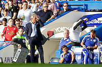 Chelsea manager José Mourinho reacts to seeing Thibaut Courtois (not pictured) getting shown a red card<br /> <br /> Photographer Craig Mercer/CameraSport<br /> <br /> Football - Barclays Premiership - Chelsea v Swansea City - Saturday 8th August 2015 - Stamford Bridge - London<br /> <br /> © CameraSport - 43 Linden Ave. Countesthorpe. Leicester. England. LE8 5PG - Tel: +44 (0) 116 277 4147 - admin@camerasport.com - www.camerasport.com