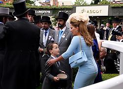 Sheikh Mohammed bin Rashid Al Maktoum with wife Princess Haya of Jordan during day one of Royal Ascot at Ascot Racecourse.