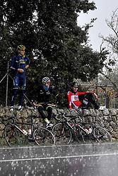 December 15, 2017 - Majorca, SPAIN - Belgian Jens Keukeleire, Belgian Lawrence Naesen of WB Veranclassic Aqua Protect and German Marcel Sieberg of Lotto Soudal pictured during a press day during Lotto-Soudal cycling team stage in Mallorca, Spain, ahead of the new cycling season, Friday 15 December 2017. BELGA PHOTO DIRK WAEM (Credit Image: © Dirk Waem/Belga via ZUMA Press)