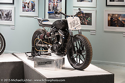 """Hunter Klee's HD/Buell custom in Michael Lichter's annual Motorcycles as Art Show """"Naked Truth"""" at the Buffalo Chip during the 75th Annual Sturgis Black Hills Motorcycle Rally.  SD, USA.  August 6, 2015.  Photography ©2015 Michael Lichter."""