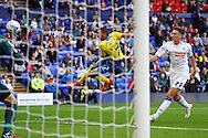 Exeter City's Liam Sercombe sees his shot go wide. .Skybet football league two match, Tranmere Rovers v Exeter city at Prenton Park in Birkenhead, the Wirral on Saturday 20th Sept 2014.<br /> pic by Chris Stading, Andrew Orchard sports photography.