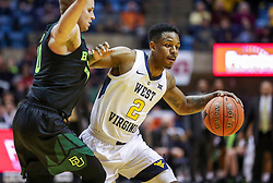 Jan 21, 2019; Morgantown, WV, USA; West Virginia Mountaineers guard Brandon Knapper (2) dribbles during the second half against the Baylor Bears at WVU Coliseum. Mandatory Credit: Ben Queen-USA TODAY Sports