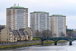 View of high rise social housing in central Ayr , Ayrshire, Scotland, UK
