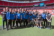 The Forest Green Rovers players pose for a group photo on their Wembley Stadium familiarisation trip during the Vanarama National League Play Off Final match between Tranmere Rovers and Forest Green Rovers at Wembley Stadium, London, England on 14 May 2017. Photo by Shane Healey.