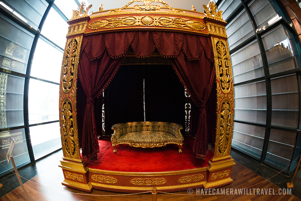 A throne used by Sultans when attending the examinations of naval officers. This throne was used during examinations at the Heybeliada Naval Academy from 1851-1852. The Istanbul Navy Museum dates back over a century but is now housed in a new purpose-built building on the banks of the Bosphorus. While ostensibly relating to Turkish naval history, the core of its collection consists of 14 imperial caiques, mostly from the 19th century, that are displayed on the main two floors of the museum.