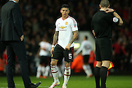 Marcos Rojo of Manchester United looks on. The Emirates FA cup, 6th round replay match, West Ham Utd v Manchester Utd at the Boleyn Ground, Upton Park  in London on Wednesday 13th April 2016.<br /> pic by John Patrick Fletcher, Andrew Orchard sports photography.