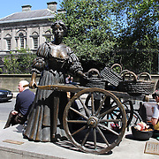 The full statue of Molly Malone and her cart on Grafton Street, outside Trinity College, Dublin, Ireland. Photo Tim Clayton