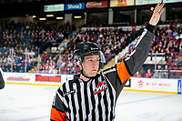 KELOWNA, BC - JANUARY 3: Referee Trevor Nolan stands on the ice at the Kelowna Rockets against the Victoria Royals  at Prospera Place on January 3, 2020 in Kelowna, Canada. (Photo by Marissa Baecker/Shoot the Breeze)