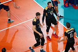 21-09-2019 NED: EC Volleyball 2019 Netherlands - Germany, Apeldoorn<br /> 1/8 final EC Volleyball / Tobias Krick #2 of Germany, György Grozer #9 of Germany
