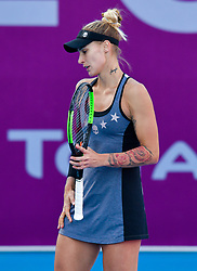 DOHA, Feb. 13, 2019  Polona Hercog of Slovenia reacts during the women's singles first round match between Alison Riske of the United States and Polona Hercog of Slovenia at the 2019 WTA Qatar Open in Doha, Qatar, Feb. 12, 2019. Polona Hercog lost 0-2. (Credit Image: © Nikku/Xinhua via ZUMA Wire)