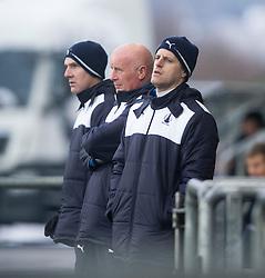 James McDonaugh, Falkirk's manager Peter Houston and Alan Maybury. <br /> Falkirk 1 v 1 Hibernian, Scottish Championship game played 17/1/2015 at The Falkirk Stadium.