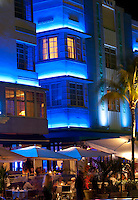 "View of famous ""Ocean Drive"" at night in Miami Beach."
