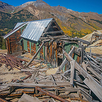 Old mine buildings teeter on mountainsides  in the Red Mountain Mining District near Silverton, Colorado.