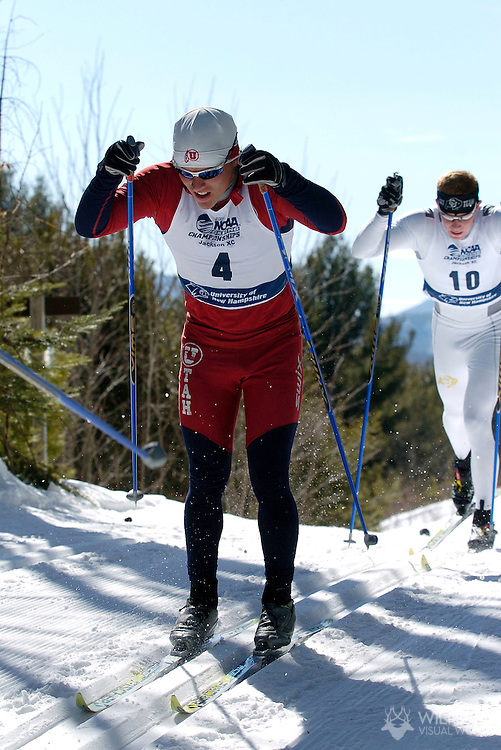 9 MAR 2007: Snorri Einarsson (4) of the University of Utah during men's 20km Classical Cross Country event at the 2007 NCAA Men and Women's Skiing Championships held at Eagle Mountain Lodge/Jackson XC Center in Jackson, NH, hosted by the University of New Hampshire. Einarsson placed 1st in the event to win the national title. © Brett Wilhelm