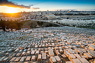 Sunset view of Jerusalem old city and Temple Mount from the Mount of Olives. The Mount of Olives is a mountain ridge east of and adjacent to the Jerusalem's Old City. It is named for the olive groves that once covered its slopes. The southern part of the Mount was the necropolis of the ancient Judean kingdom. The Mount has been used as a Jewish cemetery for over 3,000 years, holds approximately 150,000 graves and it is the longest running cemetery in the world. Many Jews have wanted to be buried on the Mount of Olives since antiquity, based on the Jewish tradition (from the Biblical verse Zechariah 14:4) that when the Messiah comes, the resurrection of the dead will begin there.