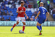 Bristol City's Zak Vyner (26) under pressure from Cardiff City defender Joel Bagan (3) during the EFL Sky Bet Championship match between Cardiff City and Bristol City at the Cardiff City Stadium, Cardiff, Wales on 28 August 2021.