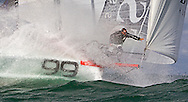 Yachtsman Alex Thomson aboard Hugo Boss in preparation for the Vendee Globe Yacht Race.