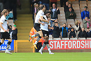 JJ Hooper Goal Celebration 3-0 during the Sky Bet League 1 match between Port Vale and Rochdale at Vale Park, Burslem, England on 23 April 2016. Photo by Daniel Youngs.