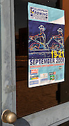 Marathon, GREECE, General Views,  event poster displayed on the Boat door at the venue for the 2004 Olypmic game and the 2008 FISA European Rowing Championships.  Lake Schinias Rowing Course, Thur's.18.09.2008  [Mandatory Credit Peter Spurrier/ Intersport Images] , Rowing Course; Lake Schinias Olympic Rowing Course. GREECE