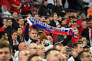 Fan with scarf during the FIFA World Cup Qualifier match between England and Slovenia at Wembley Stadium, London, England on 5 October 2017. Photo by Martin Cole.