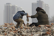 ZHENGZHOU, CHINA - FEBRUARY 03: (CHINA OUT) <br /> <br /> 7-year Old Child Picks Up Used Wires For Sick Father<br /> <br /> Seven years old Lele writes homework when his grandmother picking up used wires near west 3rd Ring Road and Huagong Road on February 3, 2015 in Zhengzhou, Henan province of China. A seven years old child who was in first grade picked up wasted wires with his grandmother Liu Xiaohong to make money for his sick father who had got Hepatitis-Aplastic Anemia Syndrome. They had almost run out all savings but failing in curing his father. Lele\'s mother looked after his father and he and grandmother had to do something else to support the family. Their efforts in all day would only be paid back forty or fifty Yuan RMB (6 USD - 8USD) and even though Lele still wrote his homework when resting along with his grandmother. Lele said that he would be a doctor to save father. <br /> ©Exclusivepix Media