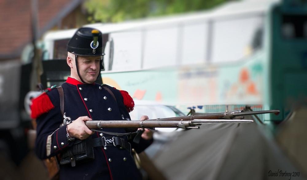 Biedermeier festival in Heiden, Switzerland in Septembet 2010, uniform, soldier, rifles