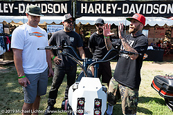 Some of the builders in the Born Free 11 Harley-Davidson Build-Off bagger project included (L>R) Robbie Lane (Alloy Art), Brandon Holstein (Speed Merchant) and Mikey Van Senus (San Diego Customs). Born-Free Vintage Motorcycle show at Oak Canyon Ranch, Silverado, CA, USA. Sunday, June 23, 2019. Photography ©2019 Michael Lichter.
