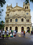 22 APRIL 2019 - NEGOMBO, WESTERN PROVINCE, SRI LANKA: A file photo from 8 October 2017 of people in front of St Sebastian's Catholic Church in Negombo, Sri Lanka. The church was one of several Christian sites attacked by suicide bombers on 21 April 2019. The church was destroyed and more than 50 people were killed.       PHOTO BY JACK KURTZ