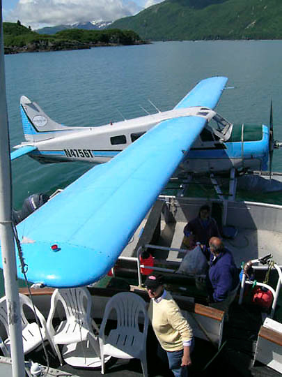 Alaskan People - Float plane  is used to take tourists to see the brown bears in Katmai National Park. Alaska.