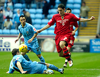 Photo: Ed Godden/Sportsbeat Images.<br />Coventry City v Cardiff City. Coca Cola Championship. 10/02/2007. Coventry's David McNamee (L), slides in on Peter Whittingham.