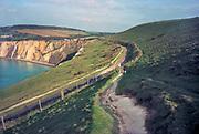 Engeland, Isle of Wight, 5-10-1997Wandelen langs een kustroute. Voetpad, kustweg, krijtrotsen,wandelen,toerisme,toeristisch,toeristische,brexit,Foto: Flip Franssen