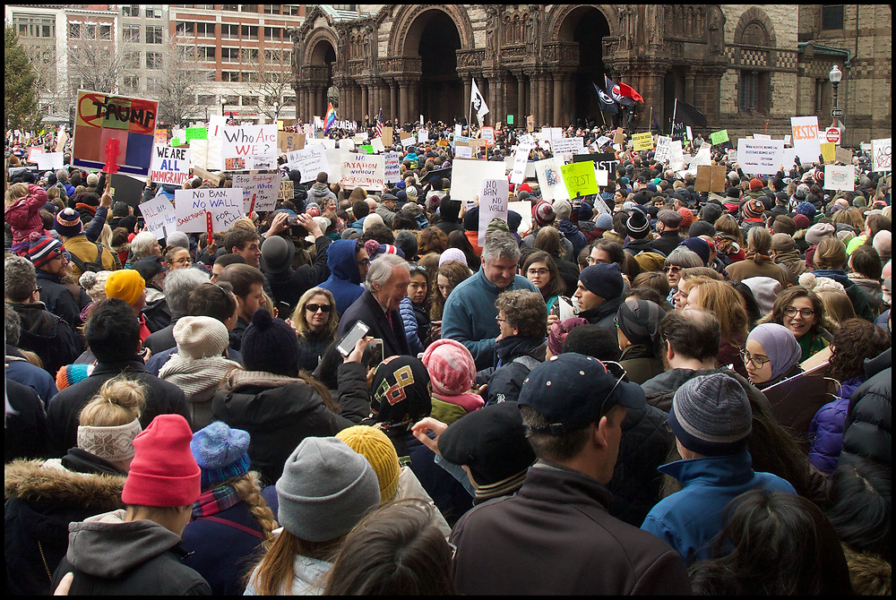 Senator Ed Markey walks through the thousands of protesters gathered in Copley Square on January 28, 2017 to protest President Trump's order blocking Syrian refugees and immigrants from six other predominantly Muslim countries.