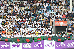 August 29, 2017 - Mirpur, Dhaka, Bangladesh - Fans cheer during day three of the First Test match between Bangladesh and Australia at Shere Bangla National Stadium on August 29, 2017 in Mirpur, Bangladesh. (Credit Image: © Ahmed Salahuddin/NurPhoto via ZUMA Press)