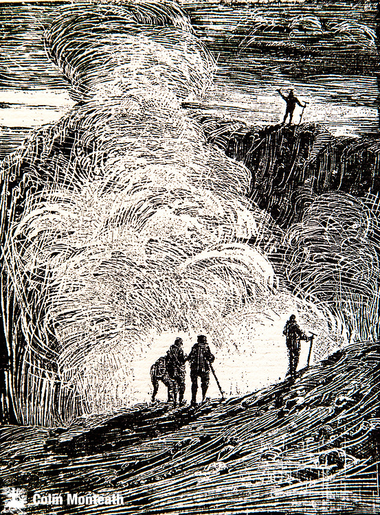 At the edge of the Crater, Mt Erebus, March 1908, after 1st ascent from Cape Royds,  Aurora Australis, George Marston, from a chapter written By Prof Edgeworth David The Ascent of Mount Erebus.