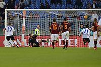 gol su rigore di German Denis Atalanta. Goal celebration.<br /> Roma 29-11-2015 Stadio Olimpico, Football Calcio 2015/2016 Serie A.AS Roma - Atalanta.  Foto Antonietta Baldassarre / Insidefoto