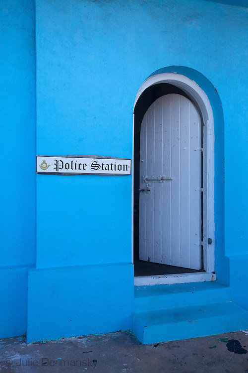 Police Station in the historic downtown of Hope Town on Elbow Cay , one of the Abaco Island in the Bahamas that has a colonial style.