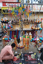March 27, 2019 - Ajmer, India - An Indian toy vendor waits for customers near a Hindu temple in Ajmer, Rajasthan, India on 27 March 2019. (Credit Image: © Str/NurPhoto via ZUMA Press)